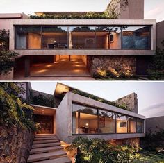 Concrete,steel and glass combination of this project in Mexico! Project by: JJRR Arquitetura Image via: Nasser Malek Hernandez Residential Architecture, Interior Architecture, Dream House Plans, House Goals, Modern House Design, Exterior Design, Future House, Building A House, Beautiful Homes