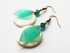 SALE Natural white circle shell recycled mint by simplycharming217, $8.00