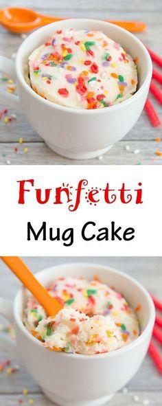 Mug Cake Funfetti Mug Cake. Fluffy, single serving vanilla cake mixed with sprinkles. Cooks in 1 minute!Funfetti Mug Cake. Fluffy, single serving vanilla cake mixed with sprinkles. Cooks in 1 minute! Mug Recipes, Baking Recipes, Cake Recipes, Dessert Recipes, Steak Recipes, Funfetti Mug Cake, Funfetti Kuchen, Vanilla Mug Cakes, Mugs