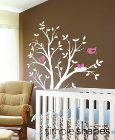 baby nursery wall decal tree with birds and nest decal original design by simple shapes 6800 via etsy