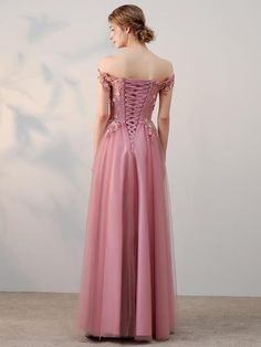 Chic A-line Off-the-shoulder Pink Applique Tulle Modest Long Prom Dress Evening Dress - Abendkleider Short Sleeve Prom Dresses, Prom Dresses Long Pink, Evening Dresses For Weddings, A Line Prom Dresses, Homecoming Dresses, Grad Dresses, Short Sleeves, Beaded Prom Dress, Lace Dress