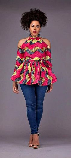 A beautiful statement unlined top ready to wear either with your favorable pair of jeans or skirt. African Fashion Ankara, Ghanaian Fashion, African Print Fashion, Nigerian Fashion, African Prints, Nigerian Outfits, African Patterns, African Attire, African Wear