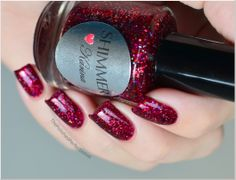 "Polished Perfectionist (Jan '13) | ""This gorgeous cherry red glitter polish is Karina from Shimmer Polish. This polish glows and sparkles like crazy, I'm drowning in its depth. ♥ The formula was a little thick, but manageable. I used two coats plus a generous amount of top coat."" (Polish available on Etsy)"