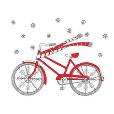This happy bike is ready for the winter season   with its snowflake wheels and its candy cane stripe scarf!    Set of 8 cards:  * My hand-drawn ink