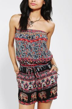 Angie Printed Strapless Romper - Urban Outfitters