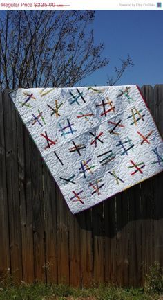 MOVING SALE Unique Modern Wall Hanging Quilt by QuiltsClothsCovers