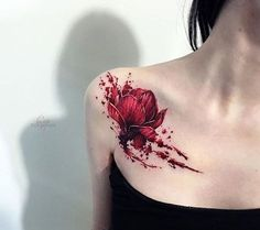 50 Shoulder Tattoo For Woman:Red Flower Freehand Shoulder Tattoo
