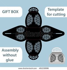 Openwork gift paper box with a handle, lace pattern, assembly without glue, cut out template, packaging for retail, greeting packaging, laser cutting template, presents packing, vector illustrations.