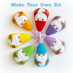 Make Your Own Rainbow Gnome Garland kit. by PollyChromeCrafts