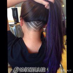 Undercut shaved design in purple hair  www.moxihair.com Moxi Hair Salon  Erie, PA