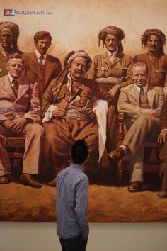 Beautiful paintings of important men throughout kurdistan history in the last century as King of Kurdistan Sheikh Mahmoud and great Kurdish poet Piramerd . Art work( painting 300 X 600 cm) of Bahroz Jaza Born in Sulaymaniya