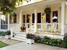 front porch railing, stair railing, curb appeal, front porch, ferns