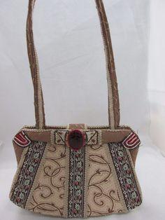 Vintage Mary Frances Women's Beige Floral Pattern Shoulder Bag #MaryFrances #ShoulderBag