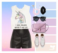 """""""#darklip"""" by katiebodlak on Polyvore featuring Balenciaga, Forever 21, Converse, L.K.Bennett, Le Specs and Lime Crime"""