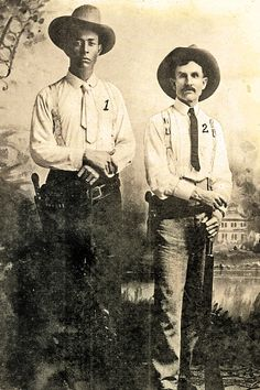 Frank Hamer (at left) stands with veteran Texas Ranger Oscar Latta in 1908, the year they investigated the murder of stockman Aaron Johnson near Geneva, Texas. They outwitted a mob and got their murderer, Robert Wright, convicted and legally hanged.