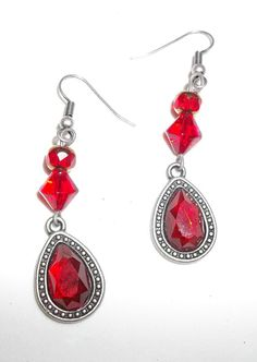 Vintage Syle Red Jewel Hand Made Earrings