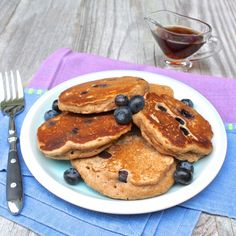 100% Whole Wheat Pancakes with a hint of brown sugar | Fountain Avenue Kitchen