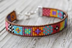 """Items similar to The ORIGINAL bright and colorful tribalesque native style """"tiny squares"""" design leather wrap loomed friendship bracelet on Etsy Bead Loom Bracelets, Beaded Bracelet Patterns, Bead Loom Patterns, Bracelet Crafts, Friendship Bracelet Patterns, Friendship Bracelets, Bead Jewellery, Beaded Jewelry, Loom Beading"""