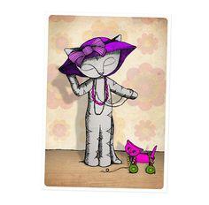Cat Greetings Card -  dressing up -  birthday - kawaii