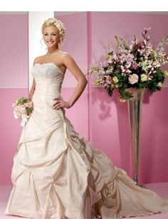 Strapless Asymmetrical Pick up Skirt with Chapel Train Custom Made Wedding Gown WD-0134