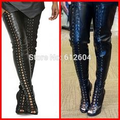 Details about Red Thigh High Open Toe Heel Boot | Thigh highs ...