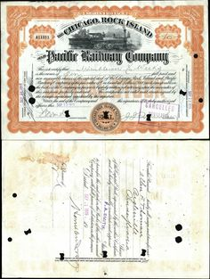 Chicago, Rock Island & Pacific Railway Company Stock Certificate, 1915, Very Fine-Extremely Fine.
