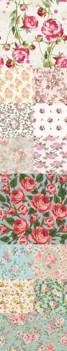 Stock Vectors - Retro Flowers Seamless Textures