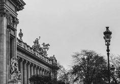 Le Grand Palais de Paris #paris #grandpalais #architecture #architecturalphotography #blackandwhite #statue #fog #lantern #city