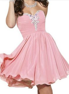 f78b3a8c3df Pink Chiffon Homecoming Dress