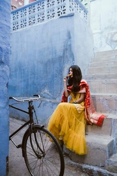 Mango yellow net sharara and kurta with a red dupatta! // wedding reception outfit for a bride Indian Attire, Indian Wear, Indian Outfits, Indian Photoshoot, Girl Photography Poses, Amazing Photography, Designer Anarkali, Indian Beauty Saree, Aesthetic Girl
