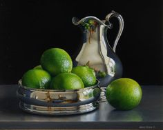 Still Life with Silver Jug and Limes in a Silver Wine Coaster by Jessica Brown