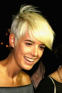 Love the contrast of tan and platinum, long face and short hair.  Sexy.  Agyness Deyn | The 18 Greatest Celebrity Pixie Cuts Of The Past Decade