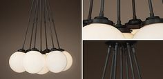 Parisian Architectural Poste Cluster Pendant - Aged Steel | Restoration Hardware