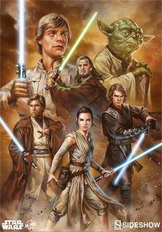 Force of Hope: Luke Skywalker, Qui-Gon Jinn, Yoda, Obi-Wan Kenobi, Rey and Anakin Skywalker Star Wars Poster, Star Wars Film, Star Wars Jedi, Star Wars Fan Art, Images Star Wars, Star Wars Pictures, Starwars, Chewbacca, Cuadros Star Wars