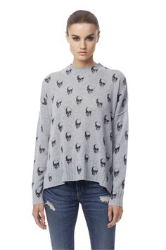 "Skull cashmere soft cashmere knit top with allover ""Dexter"" skull design (US $288)"