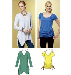 3802 Kwik Sew XS to XL Misses' tops have self fabric neckband. View A has V-neckline, full length sleeves, and flared uneven bottom edge; View B has scoop neckline, short sleeves, and side seams are gathered with ribbon in casings. Kwik Sew Patterns, Mccalls Patterns, Do It Yourself Fashion, Fabric Shop, Top Pattern, Knitted Fabric, Diy Fashion, Dress Making, Couture