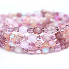 Pink Beaded Memory Wire Bracelet  The beads color combination is so pretty