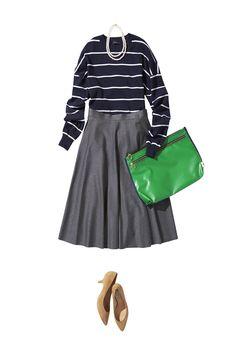 グレーの万能スカートで大人レディな秋の着こなし ― B