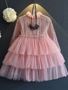 Ruffled Neck Multilayered Ball Gown Dress