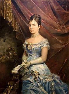 ▴ Artistic Accessories ▴ clothes, jewelry, hats in art - José Denis Belgrano | María de las Mercedes de Orleans y Borbón, Queen of Spain. 1879