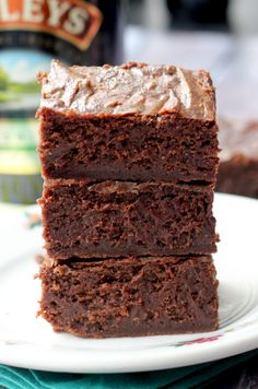 Irish Cream Brownies #recipe.  Look how fudgy!