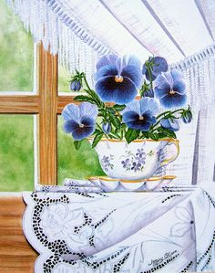 """Cup-a-Pansies"" by Mary Irwin Watercolor ~ x Watercolor Art, Art Painting, Tea Art, Flower Art, Floral Art, Painting, Watercolor Flowers, Window Art, Art"
