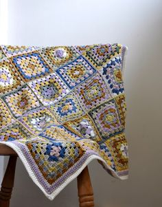 So soft and warm, traditional granny square blanket