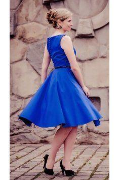 e474b5501 SUSAN modré společenské retro šaty lodičkový výstřih knoflíčky na zadní  straně kolová sukně pásek s ozdobnou