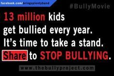 Stop bullying, please try and stop it, it's a horrible thing! Repin this if you want to stop bullying.