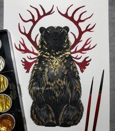 Mythology and Fantasy in Animal Paintings - Animal Paintings, Animal Drawings, Art Drawings, Cute Bear Drawings, Art D'ours, Ink Art, Art Viking, Viking Woman, Tattoo Oriental