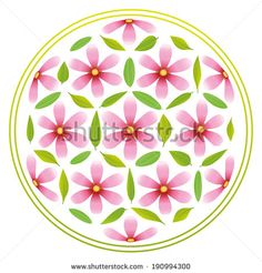 Illustration about Flower-of-life-Symbol composed of pink flowers and green leaves. Illustration of pattern, green, beautiful - 40406125 Design Art, Graphic Design, Life Symbol, Vector Flowers, Stock Foto, Flower Of Life, Green Leaves, Feng Shui, Art Sketches