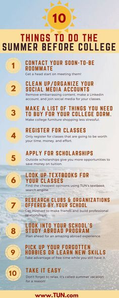 Tips for the collegebound freshmen: do these 10 things the summer before college! Tips for the collegebound freshmen: do these 10 things the summer before college!
