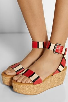 See by Chloé Patti striped leather wedge sandals NET-A-PORTER.COM