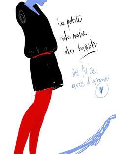 Le petite robe noire de ba  #fashion #illustration Open Toe / Opentoeillustration.com